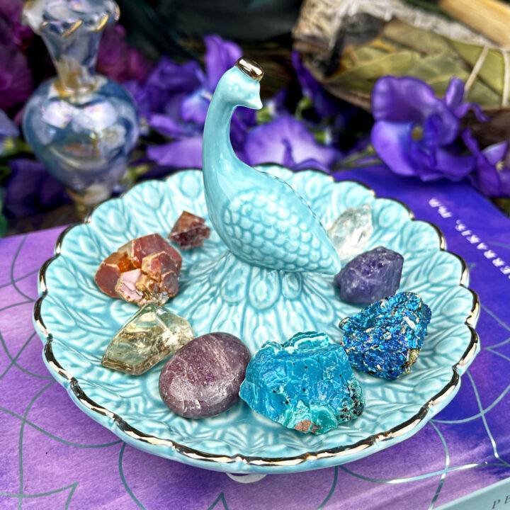 X Anniversary Peacock Tray with Gem Set