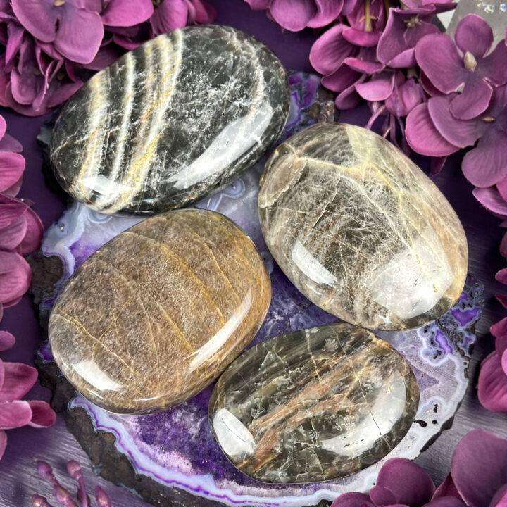 Black Moonstone Intention Setting Palm Stone