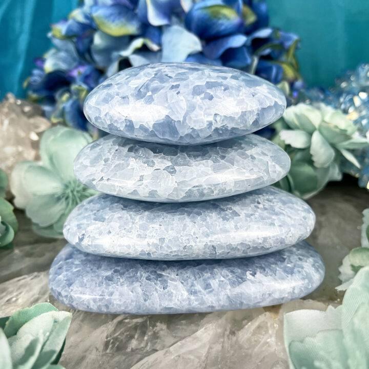 Blue Calcite Peace and Harmony Palm Stone