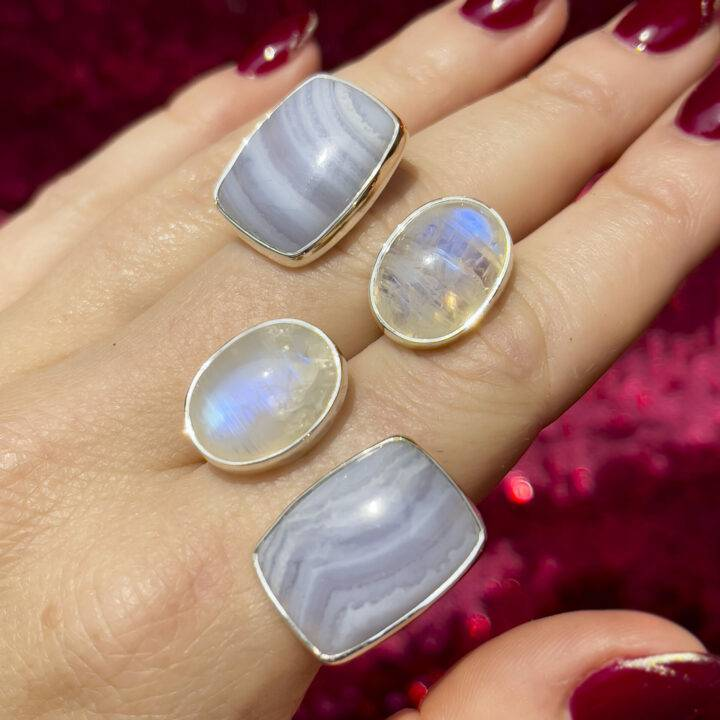 Blue Lace Agate With Rainbow Moonstone Sterling Silver Adjustable Ring