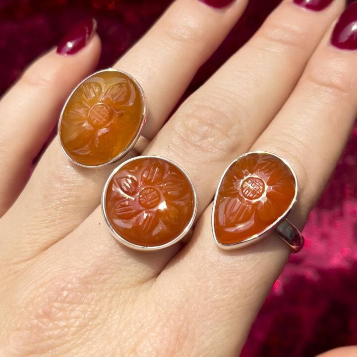 Carved Flower Carnelian Adjustable Ring