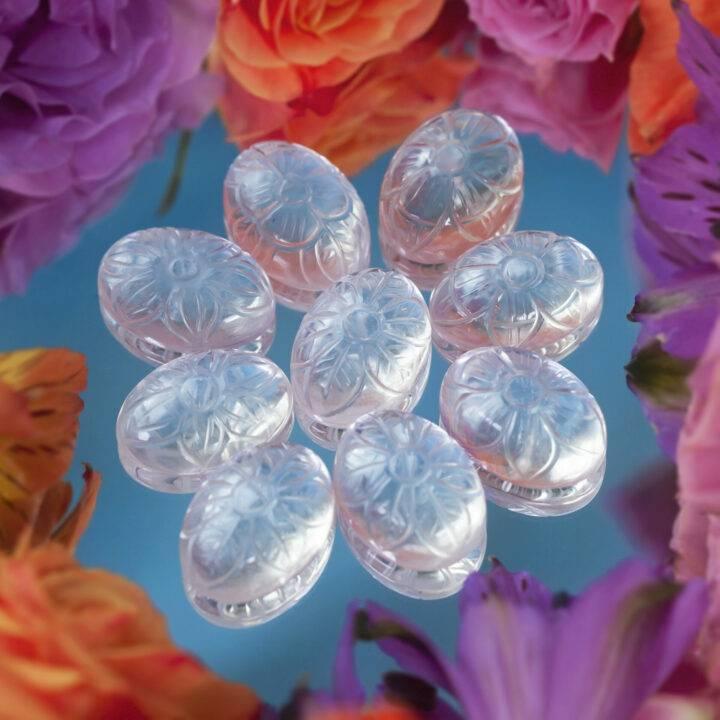 Flower Engraved Clear Quartz Cabochon