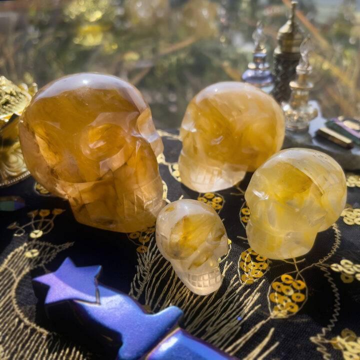 Golden Healer Quartz Skull