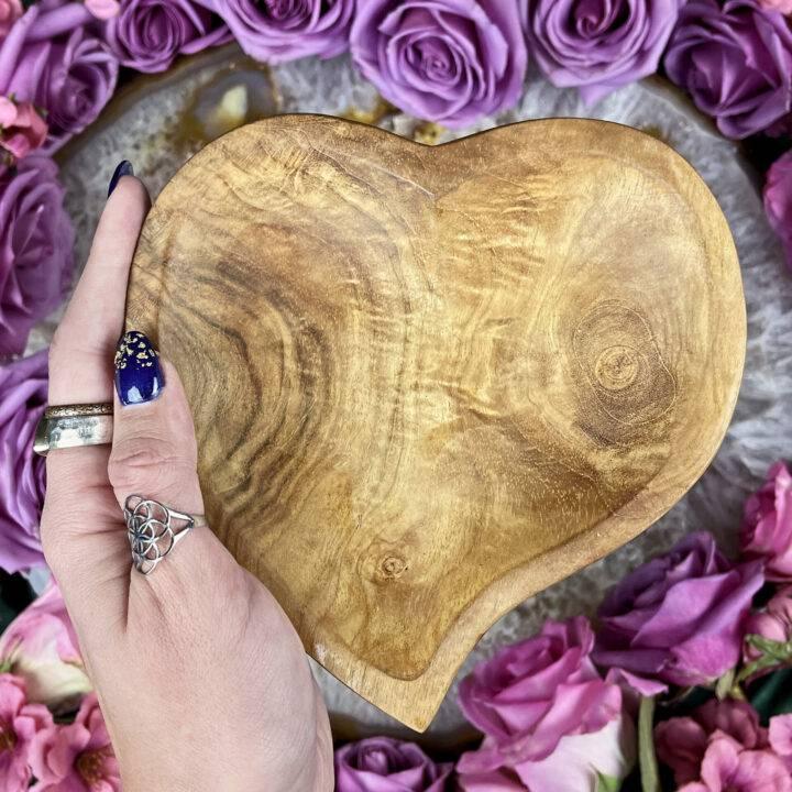 Handmade Heart Teak Wood Altar Bowl