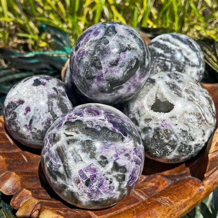 Healing Path Purple Fluorite and Goethite in Quartz Sphere