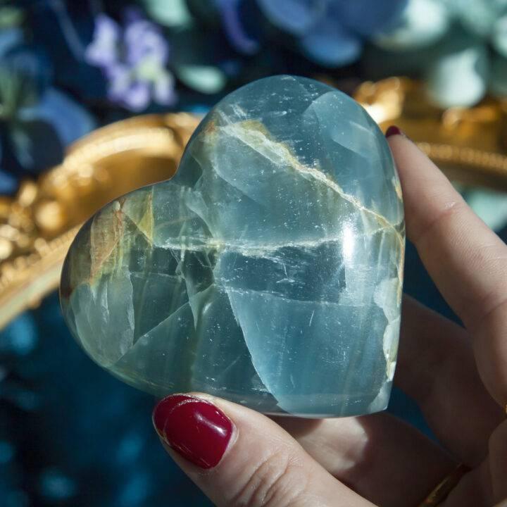 Lemurian Blue Calcite Heart