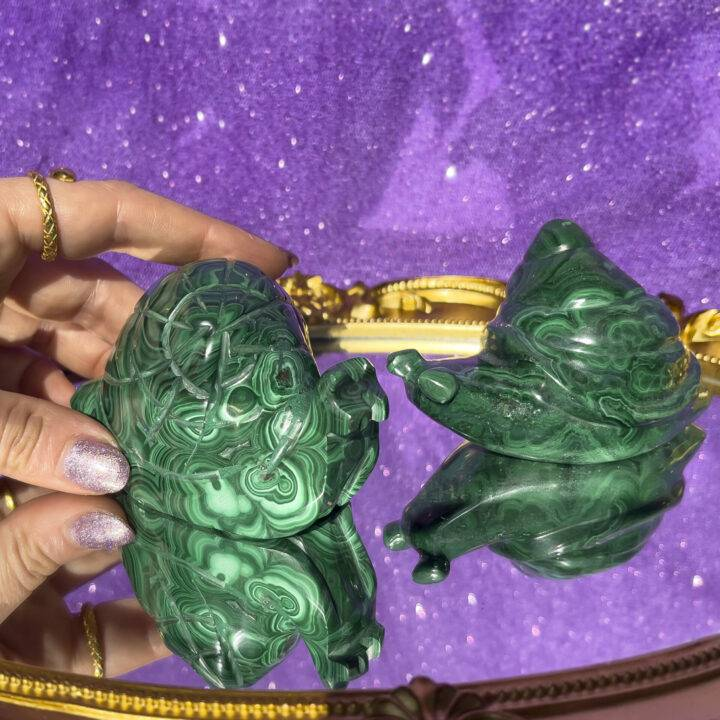 Malachite Snail Carving