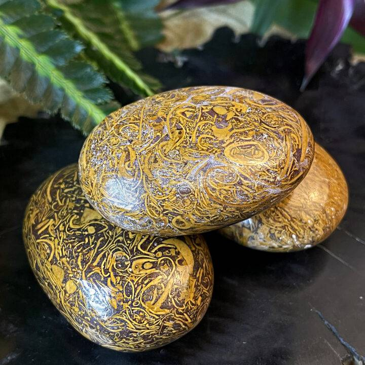 Mother Goddess Sanskrit Jasper Palm Stone