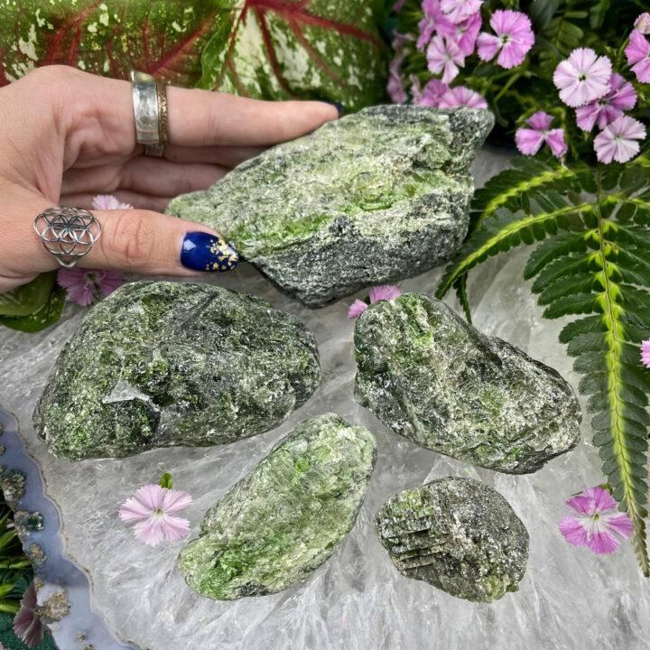 Natural Brazilian Green Diopside in Quartz
