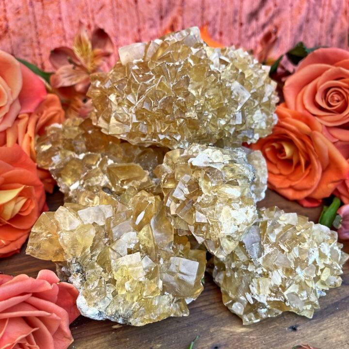 Natural Honey Calcite Cluster