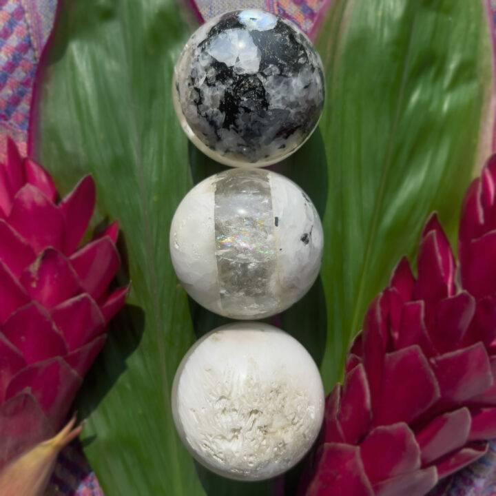 Rainbow Moonstone, Clear Quartz, and Scolecite Soul Star Sphere
