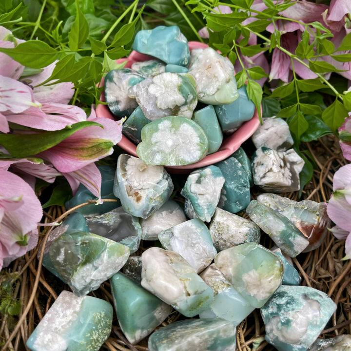 Small Tumbled Green Flower Agate