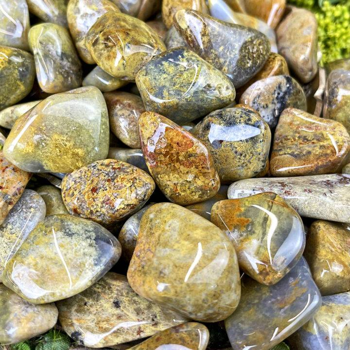 Small Tumbled Yellow Moss Agate