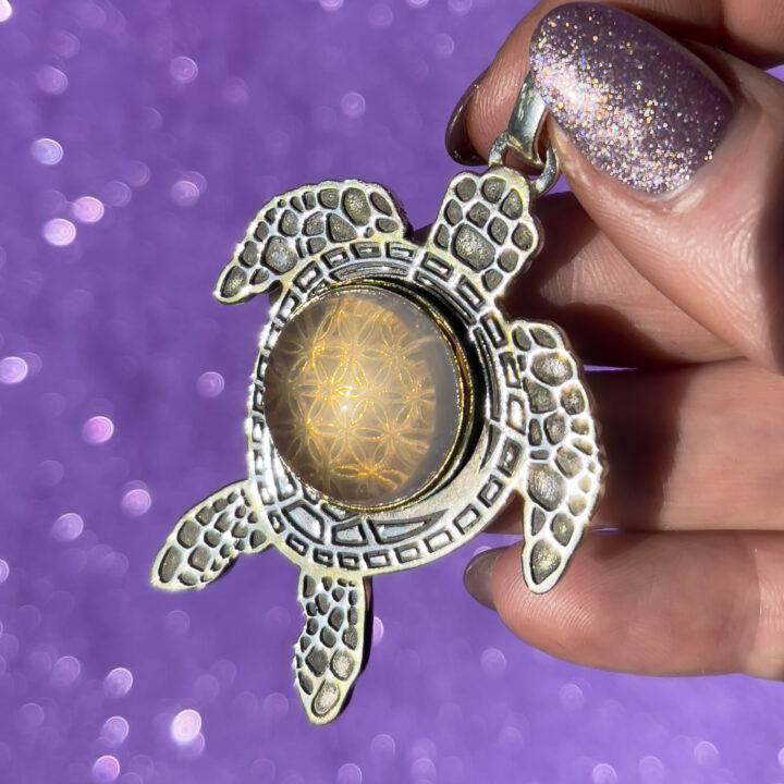 Star Rose Quartz Turtle Sterling Silver Pendant