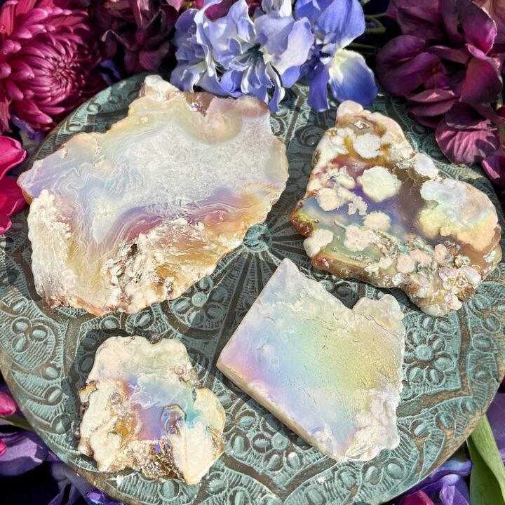 Total Ease Angel Aura Flower Agate Charging Plate