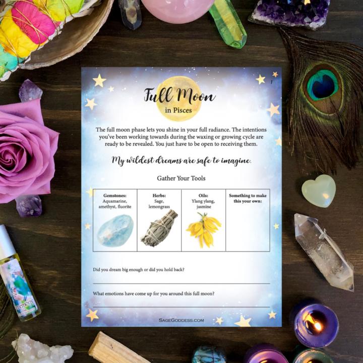 Free Downloadable Pisces Full Moon Worksheet