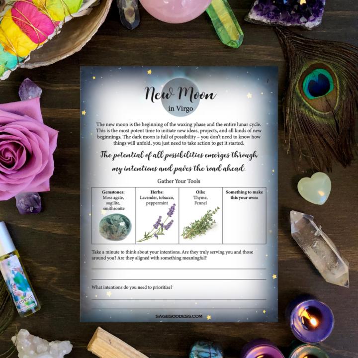 Free Downloadable Virgo New Moon Worksheet
