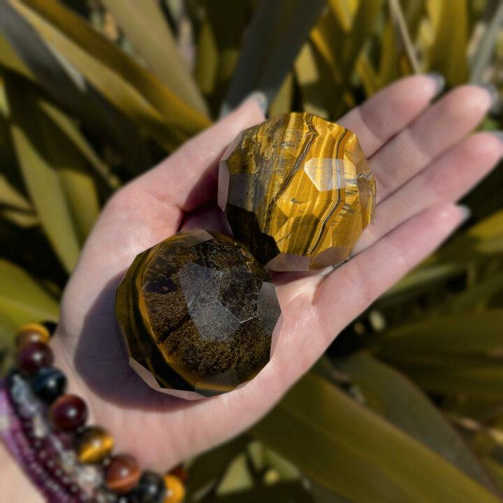 Goddess Athenas Faceted Tigers Eye Sphere