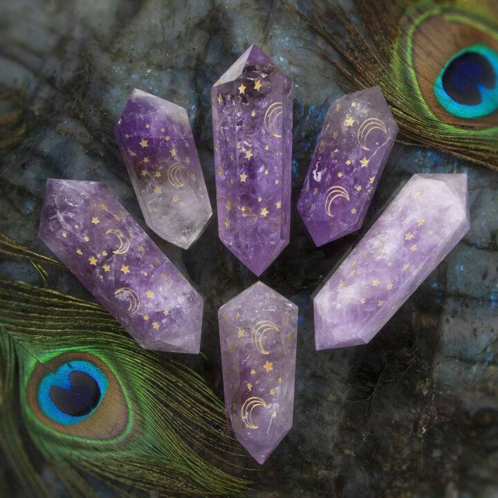 Double Terminated Amethyst Moon and Stars Wand