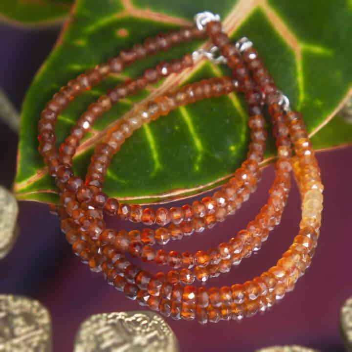 Fortune and Prosperity Faceted Hessonite Garnet Bracelet