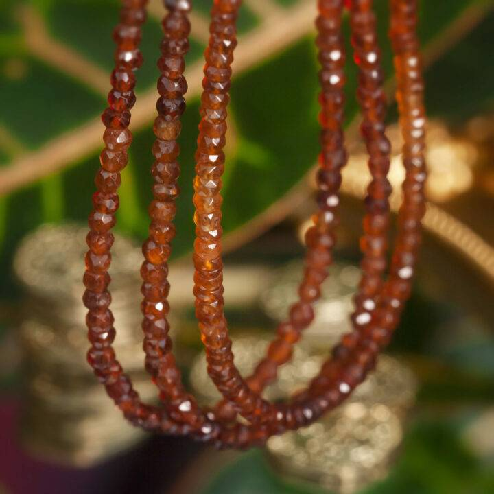 Fortune and Prosperity Faceted Hessonite Garnet Necklace