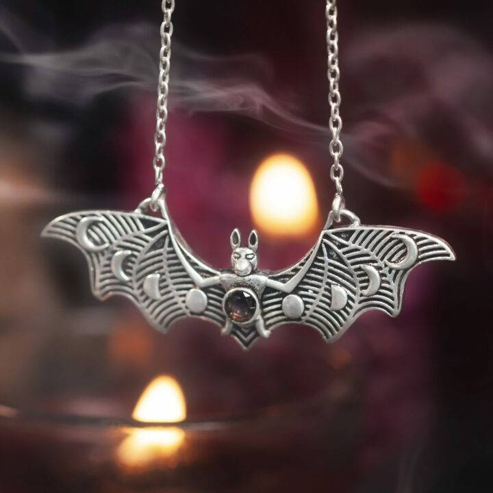Guardian of the Night Bat and Moon Phases Necklace
