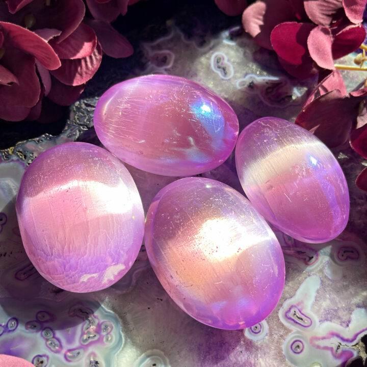 Peaceful Purple Aura Selenite Palm Stone