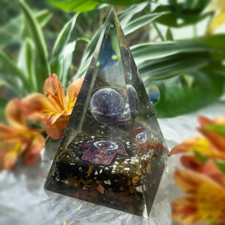 Protection and Intuition Orgonite Hamsa Pyramid