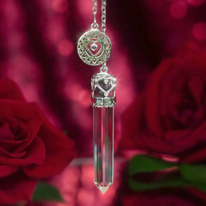 Queen of Hearts Clear Quartz and Ruby Pendulum