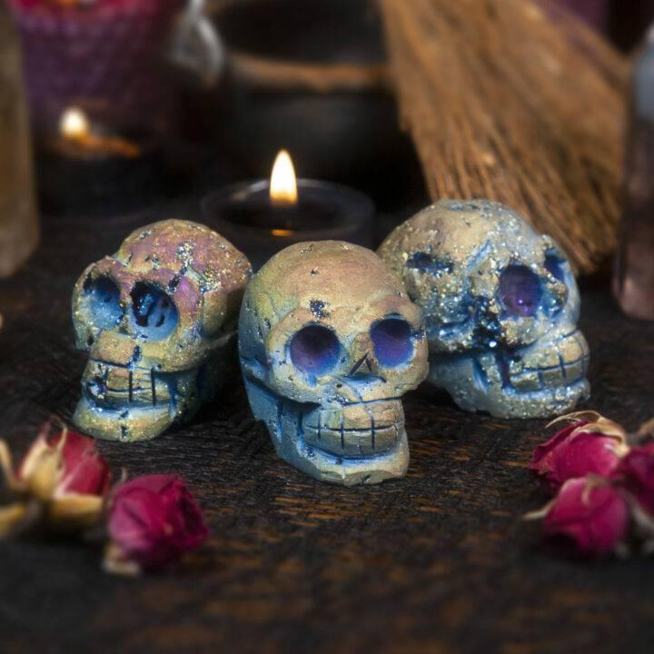 Titanium Aura Sphalerite Skull