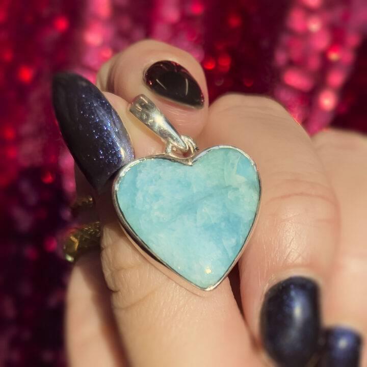 Amazonite Sterling Silver Pendant Heart