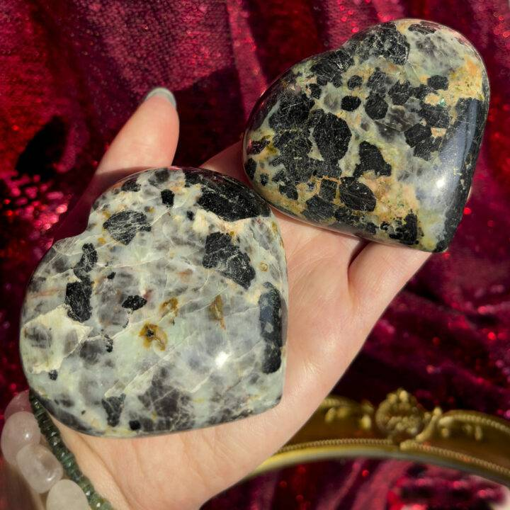 Black Tourmaline with Chrysocolla in Matrix Heart