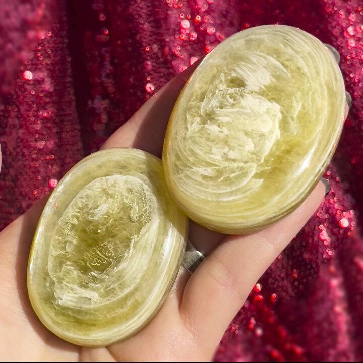 Golden Lepidolite Palm Stone