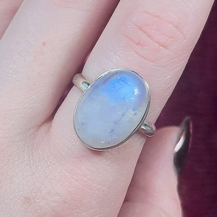 Moonstone Oval Adjustable Sterling Silver Ring