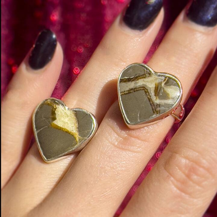 Septarian Adjustable Sterling Silver Heart Ring
