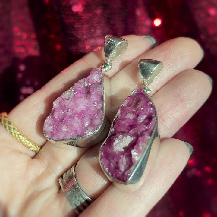 Sterling Silver Pink Cobalto Calcite Pendant