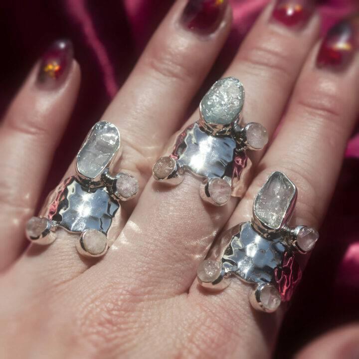 Athena's Aquamarine and Morganite Love Priestess Ring
