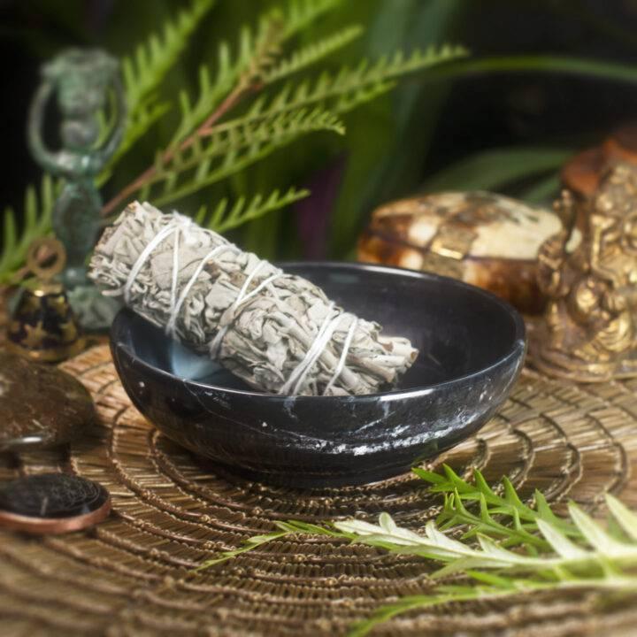 Black Jade Bowl with White Sage Smudge Bundle