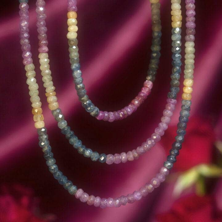 Faceted Ruby and Sapphire Love and Wisdom Necklace