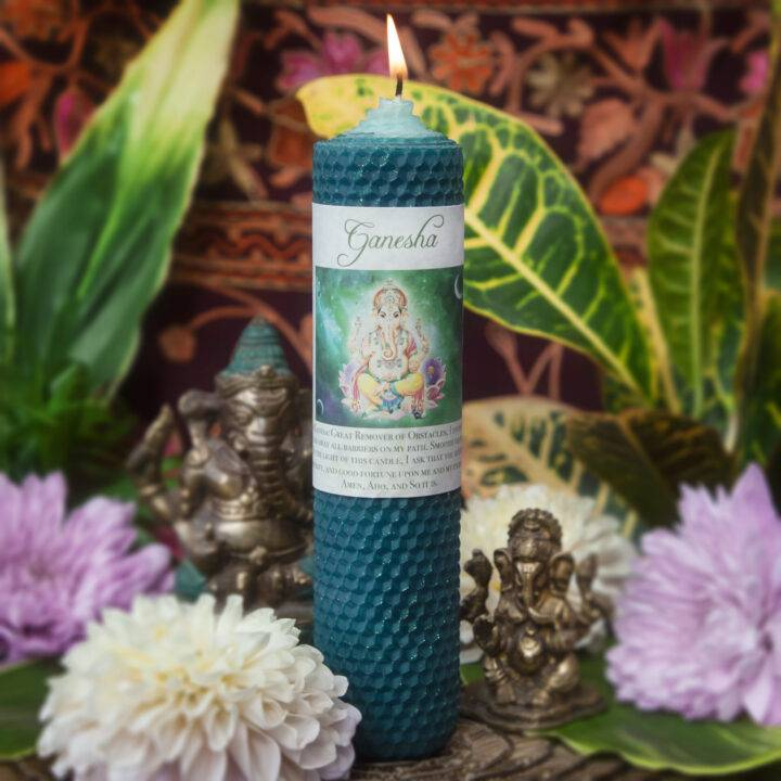 Ganesha Beeswax Intention Candle