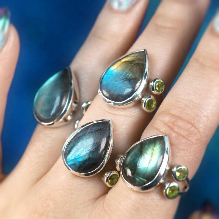 Manifest Your Intentions Labradorite and Peridot Ring