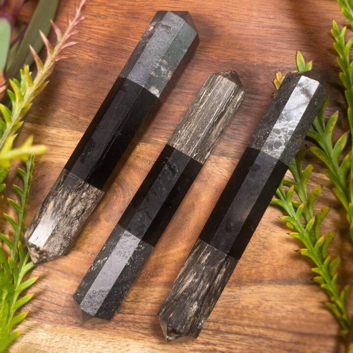 Petrified Wood, Black Tourmaline, and Hematite Grounding Wand