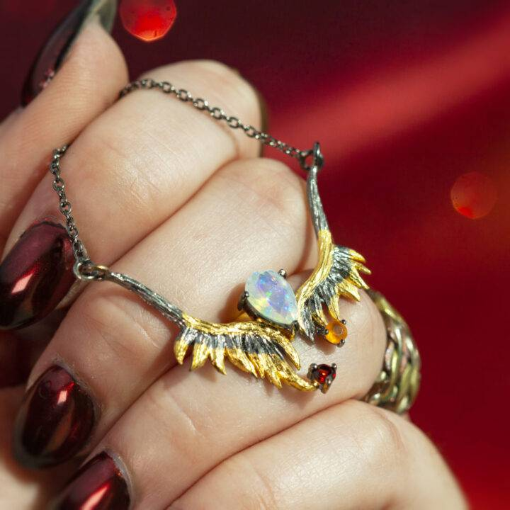 Phoenix Rising Fire Opal, Garnet, and Carnelian Necklace