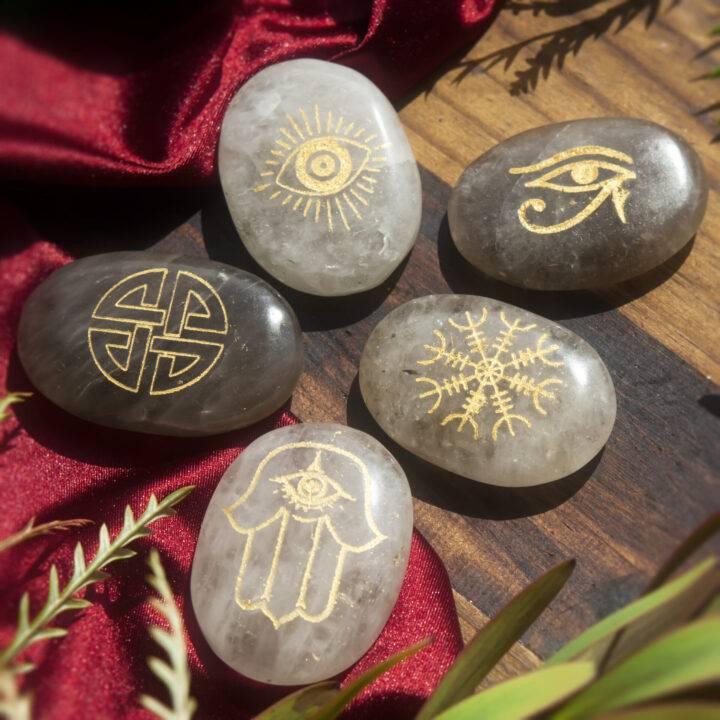 Smoky Quartz Protection Palm Stone Set