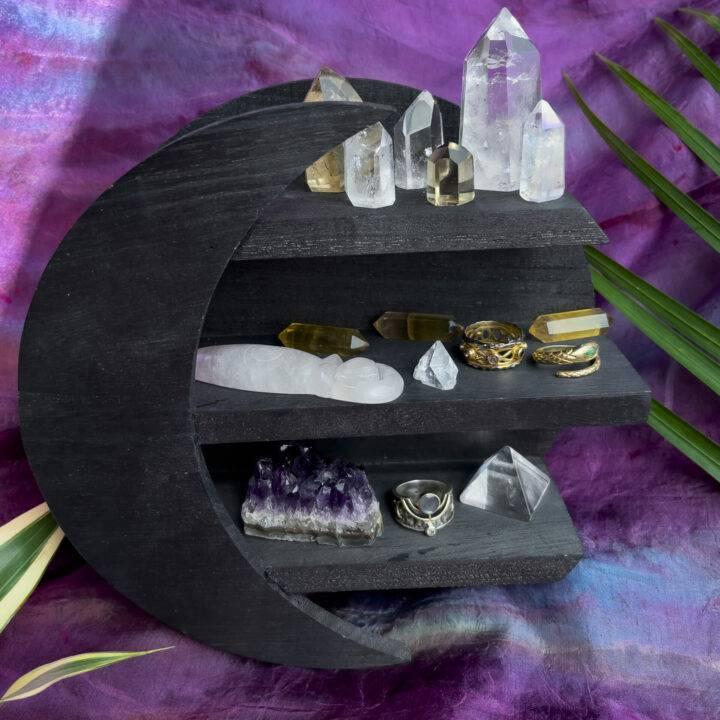 Wooden Moon Crystal Specimen Shelf