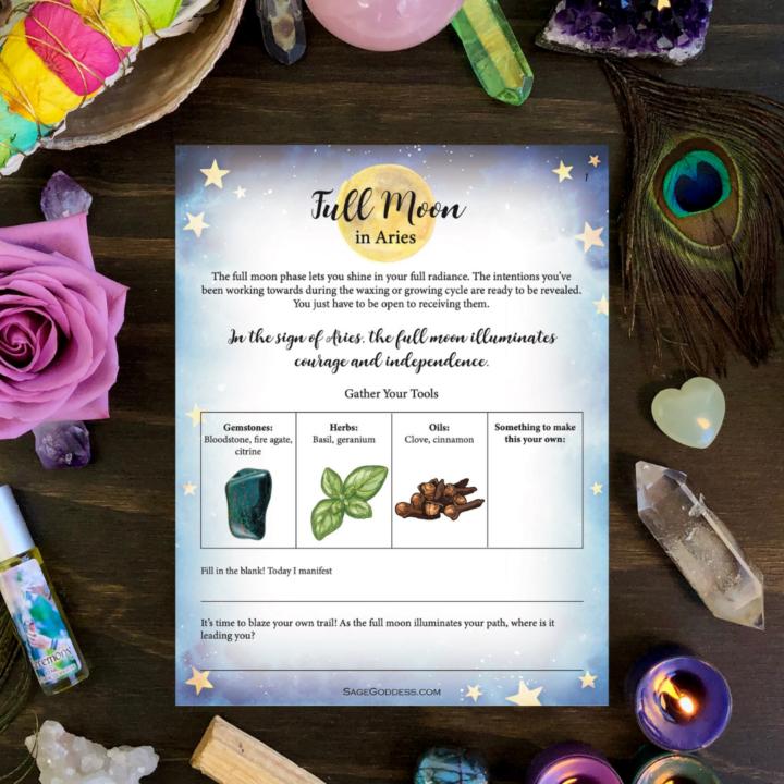 Free Downloadable Aries Full Moon Worksheet