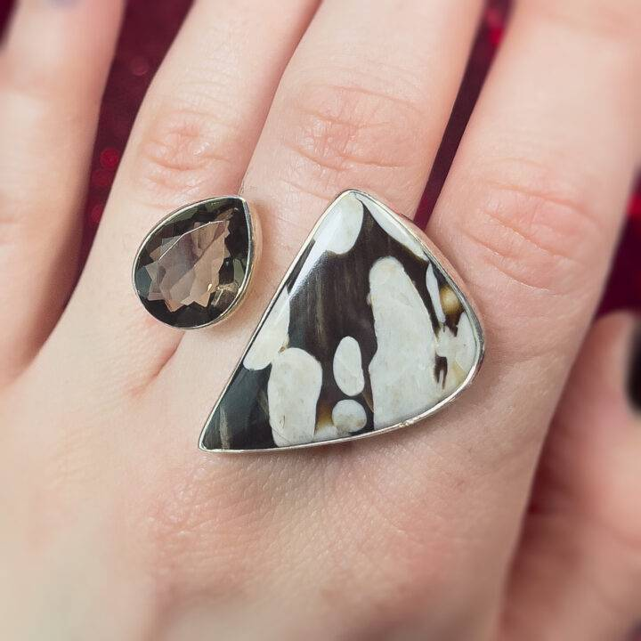 Peanut Wood with Smoky Quartz Sterling Silver Adjustable Ring